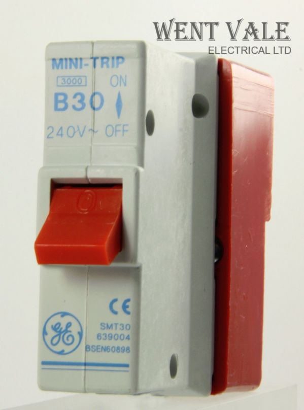 GE Mini Trip - SMT30 639004 - 30a Type B Plug-in Single Pole MCB and Base New